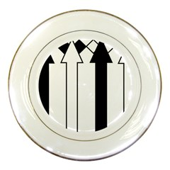 Funny Black and White Stripes Diamonds Arrows Porcelain Plates