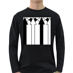 Funny Black and White Stripes Diamonds Arrows Long Sleeve Dark T-Shirts