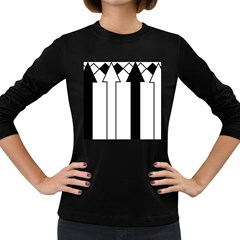 Funny Black and White Stripes Diamonds Arrows Women s Long Sleeve Dark T-Shirts