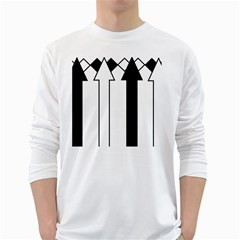 Funny Black and White Stripes Diamonds Arrows White Long Sleeve T-Shirts