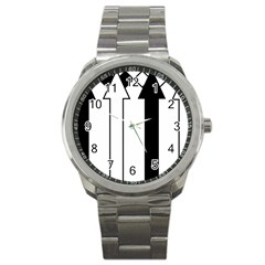 Funny Black and White Stripes Diamonds Arrows Sport Metal Watch