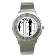 Funny Black and White Stripes Diamonds Arrows Stainless Steel Watch