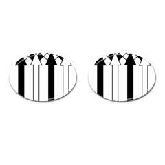 Funny Black and White Stripes Diamonds Arrows Cufflinks (Oval)