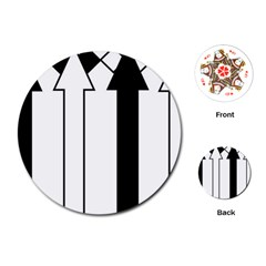Funny Black and White Stripes Diamonds Arrows Playing Cards (Round)