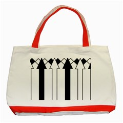 Funny Black and White Stripes Diamonds Arrows Classic Tote Bag (Red)