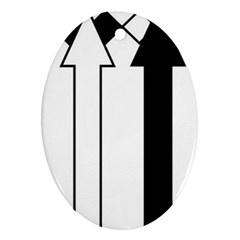 Funny Black and White Stripes Diamonds Arrows Oval Ornament (Two Sides)