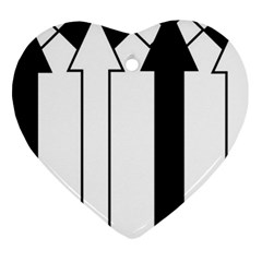 Funny Black and White Stripes Diamonds Arrows Heart Ornament (2 Sides)