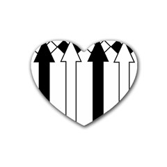Funny Black and White Stripes Diamonds Arrows Rubber Coaster (Heart)