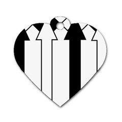 Funny Black and White Stripes Diamonds Arrows Dog Tag Heart (One Side)