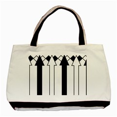 Funny Black and White Stripes Diamonds Arrows Basic Tote Bag (Two Sides)