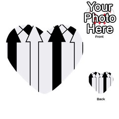 Funny Black and White Stripes Diamonds Arrows Multi-purpose Cards (Heart)