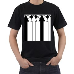 Funny Black and White Stripes Diamonds Arrows Men s T-Shirt (Black)