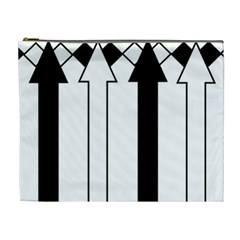 Funny Black and White Stripes Diamonds Arrows Cosmetic Bag (XL)