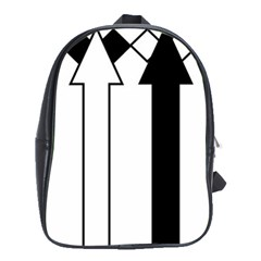 Funny Black and White Stripes Diamonds Arrows School Bags(Large)