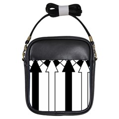 Funny Black and White Stripes Diamonds Arrows Girls Sling Bags