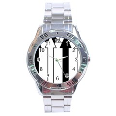 Funny Black and White Stripes Diamonds Arrows Stainless Steel Analogue Watch