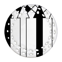 Funny Black and White Stripes Diamonds Arrows Round Filigree Ornament (2Side)