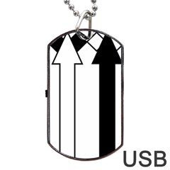 Funny Black and White Stripes Diamonds Arrows Dog Tag USB Flash (Two Sides)