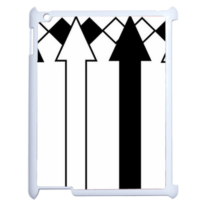Funny Black and White Stripes Diamonds Arrows Apple iPad 2 Case (White)