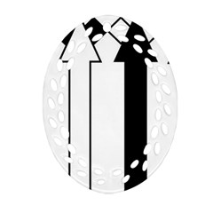Funny Black and White Stripes Diamonds Arrows Ornament (Oval Filigree)