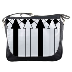 Funny Black and White Stripes Diamonds Arrows Messenger Bags