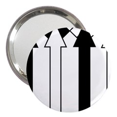 Funny Black and White Stripes Diamonds Arrows 3  Handbag Mirrors