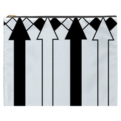Funny Black and White Stripes Diamonds Arrows Cosmetic Bag (XXXL)