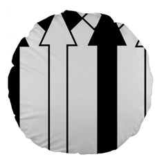 Funny Black and White Stripes Diamonds Arrows Large 18  Premium Round Cushions