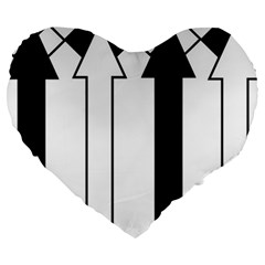 Funny Black and White Stripes Diamonds Arrows Large 19  Premium Heart Shape Cushions