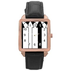 Funny Black and White Stripes Diamonds Arrows Rose Gold Leather Watch