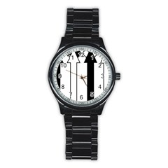 Funny Black and White Stripes Diamonds Arrows Stainless Steel Round Watch