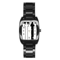 Funny Black and White Stripes Diamonds Arrows Stainless Steel Barrel Watch