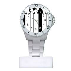 Funny Black and White Stripes Diamonds Arrows Plastic Nurses Watch