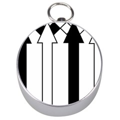 Funny Black and White Stripes Diamonds Arrows Silver Compasses