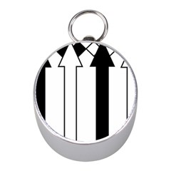 Funny Black and White Stripes Diamonds Arrows Mini Silver Compasses