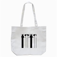 Funny Black and White Stripes Diamonds Arrows Tote Bag (White)