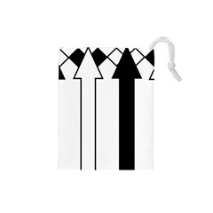 Funny Black and White Stripes Diamonds Arrows Drawstring Pouches (Small)