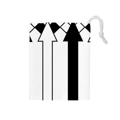 Funny Black and White Stripes Diamonds Arrows Drawstring Pouches (Medium)