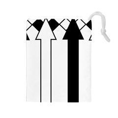 Funny Black and White Stripes Diamonds Arrows Drawstring Pouches (Large)