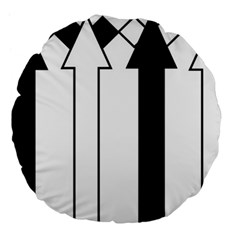 Funny Black and White Stripes Diamonds Arrows Large 18  Premium Flano Round Cushions