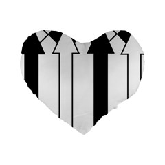 Funny Black and White Stripes Diamonds Arrows Standard 16  Premium Flano Heart Shape Cushions