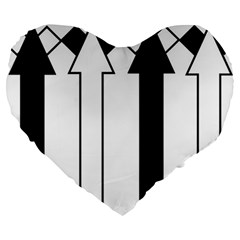 Funny Black and White Stripes Diamonds Arrows Large 19  Premium Flano Heart Shape Cushions