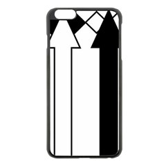 Funny Black and White Stripes Diamonds Arrows Apple iPhone 6 Plus/6S Plus Black Enamel Case