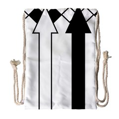 Funny Black and White Stripes Diamonds Arrows Drawstring Bag (Large)