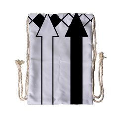 Funny Black and White Stripes Diamonds Arrows Drawstring Bag (Small)