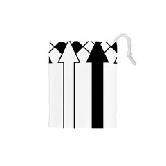 Funny Black and White Stripes Diamonds Arrows Drawstring Pouches (XS)