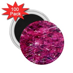 Festive Hot Pink Glitter Merry Christmas Tree  2 25  Magnets (100 Pack)  by yoursparklingshop