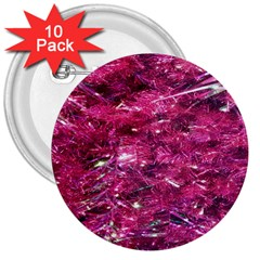 Festive Hot Pink Glitter Merry Christmas Tree  3  Buttons (10 Pack)  by yoursparklingshop