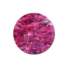 Festive Hot Pink Glitter Merry Christmas Tree  Magnet 3  (round) by yoursparklingshop
