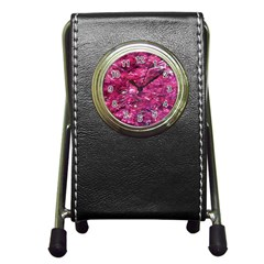 Festive Hot Pink Glitter Merry Christmas Tree  Pen Holder Desk Clocks by yoursparklingshop
